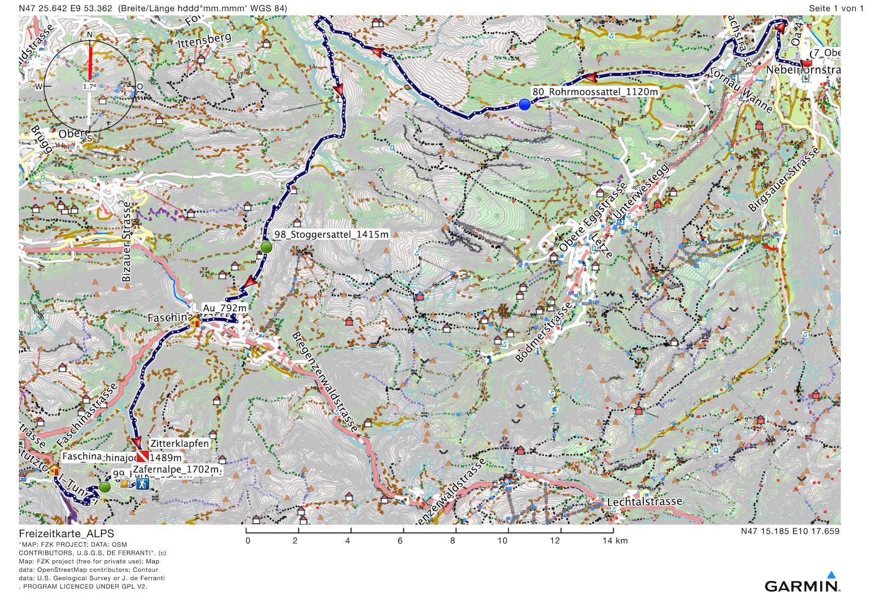 MTB Alpencross, Route Oberstdorf - Faschina